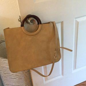 Hobo bag with wood handles / crossbody strap